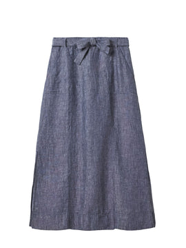 White Stuff Ione Plain Linen Maxi Skirt- Sky Blue