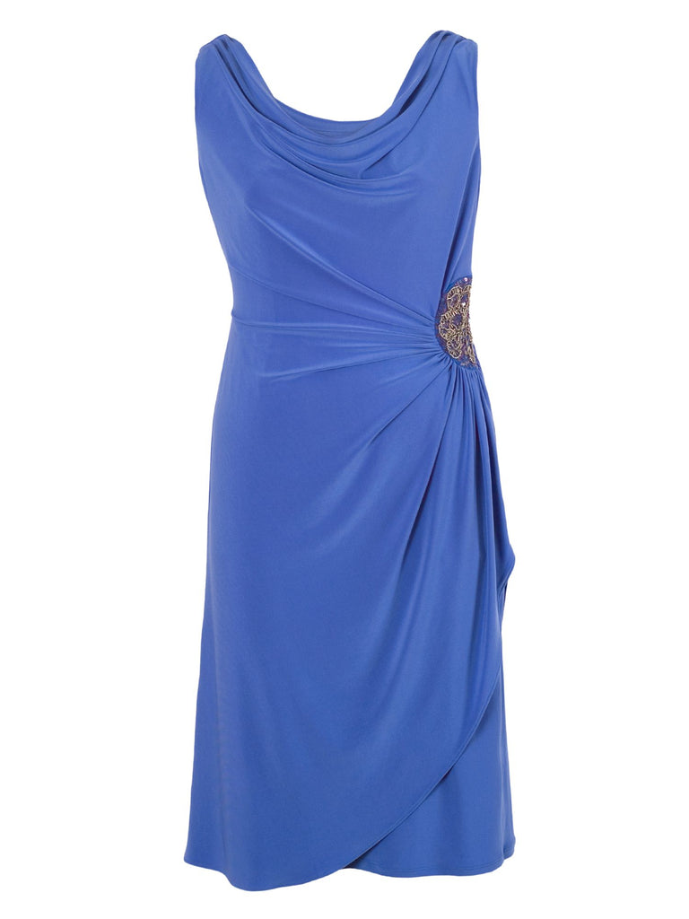 Chesca Cowl Neck Side Beaded Jersey Dress- Blue