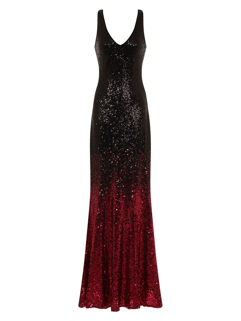 HotSquash V Neck Sequin Evening Dress- Red