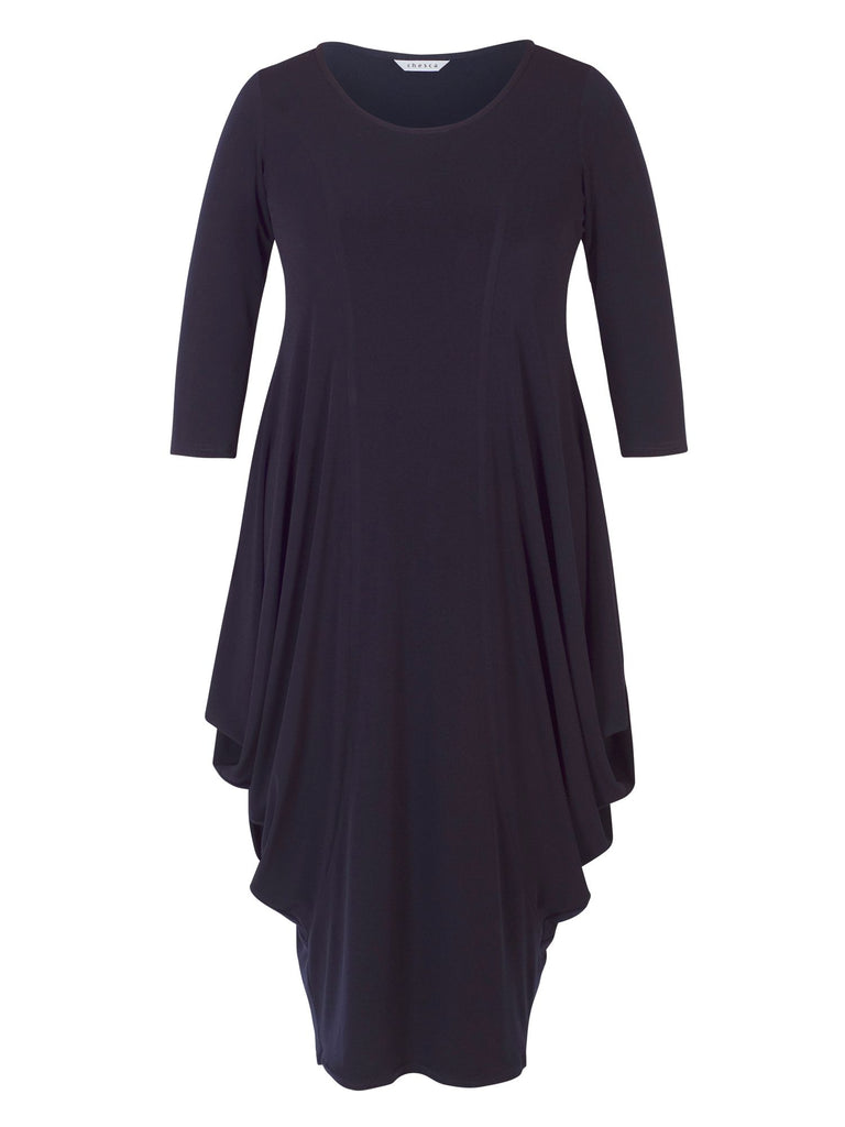 Chesca Princess Seam Jersey Drape Dress- Blue