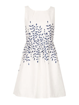 GOLDKID LONDON Jacquard Leaf Pattern Dress- White