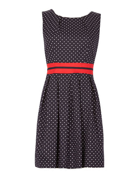 GOLDKID LONDON Small Polka Dot With Belt Dress- Dark Blue