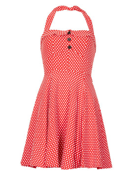 GOLDKID LONDON Polka Dots Halter Neck Vintage Dress- Red