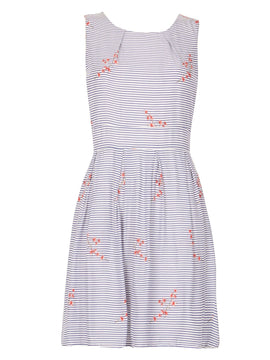 GOLDKID LONDON Striped Cherry Blossom Dress- Blue
