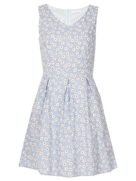 GOLDKID LONDON Small Flower Print Skater Dress- Blue