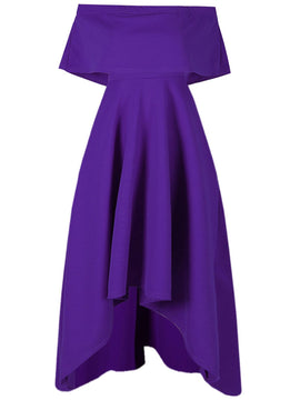 Be Jealous Off Shoulder High Low Dress- Purple