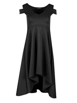 Be Jealous Cold Shoulder High Low Dress- Black