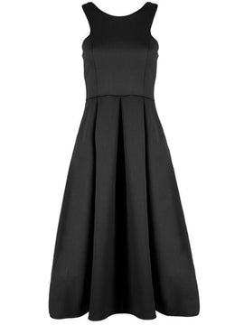 Be Jealous Pleated Cut Away Midi Dress- Black