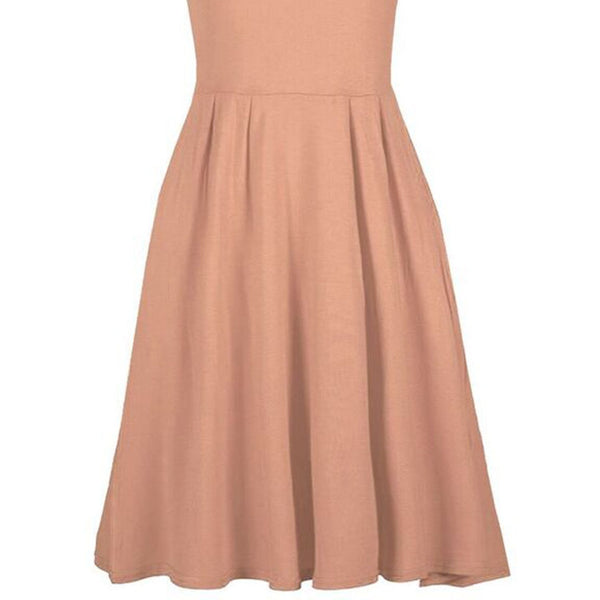 Be Jealous V Neck Skater Dress- Light Brown