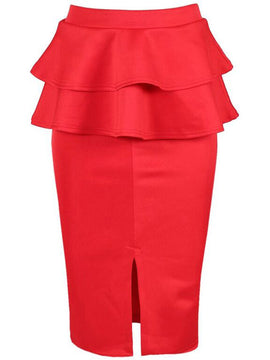 Be Jealous Front Split Frill Skirt- Red