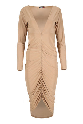 Be Jealous Plunge Ruched Midi Dress- Light Brown