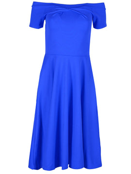 Be Jealous Off Shoulder Midi Skater Dress- Blue