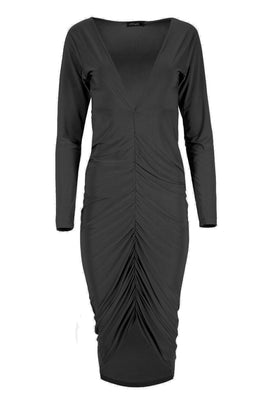 Be Jealous Plunge Ruched Midi Dress- Black