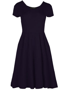 Be Jealous V Neck Skater Dress- Purple