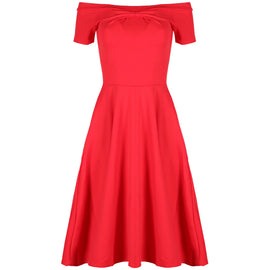 Be Jealous Off Shoulder Midi Skater Dress- Red