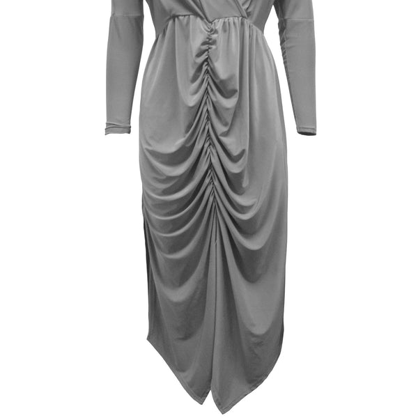 Be Jealous Wrap Over Long Sleeves Midi Dress- Grey