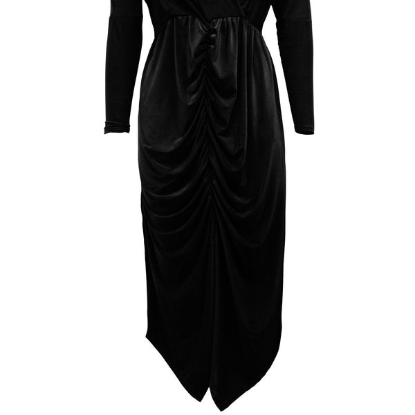 Be Jealous Wrap Over Long Sleeves Midi Dress- Black