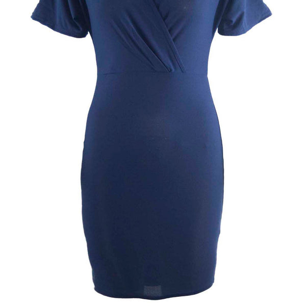 Be Jealous Wrap Over Mini Bodycon Dress- Dark Blue
