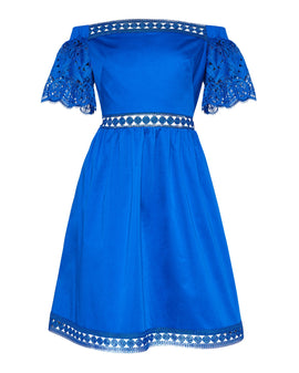 Ted Baker Loulah Geo Lace Bardot Dress- Bright Blue
