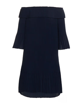 Ted Baker Franeis Pleated Bardot Dress- Blue