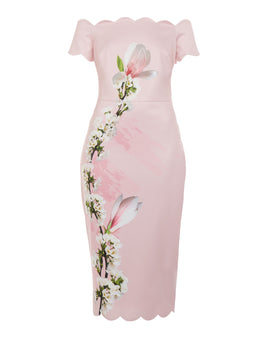 Ted Baker Olyva Harmony Scallop Trim Bardot Dress- Pale Pink