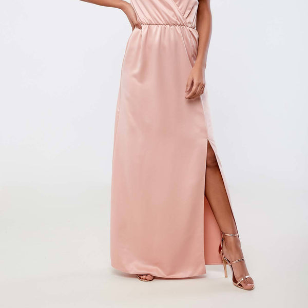 Silver Bloom Tie Shoulder Plunge Maxi Dress - Nude