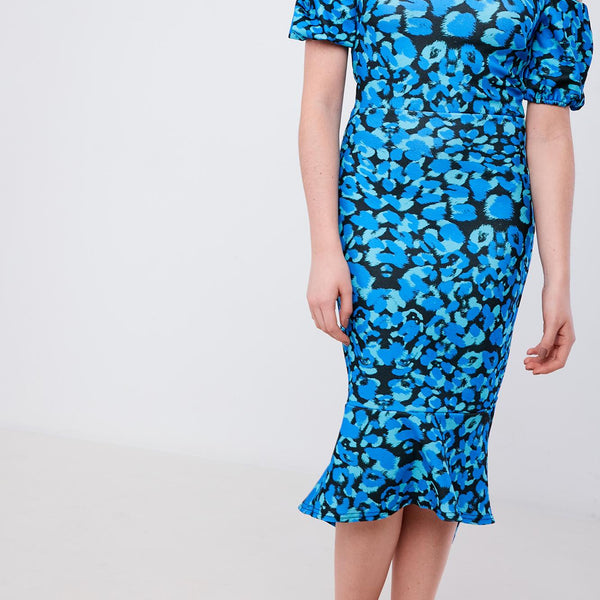 Silver Bloom Leopard Print Midi Dress - Blue
