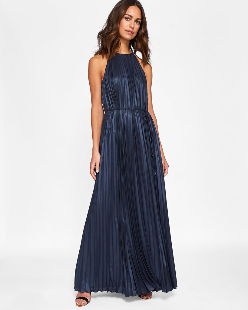 Ted Baker Metallic pleated maxi dress Navy