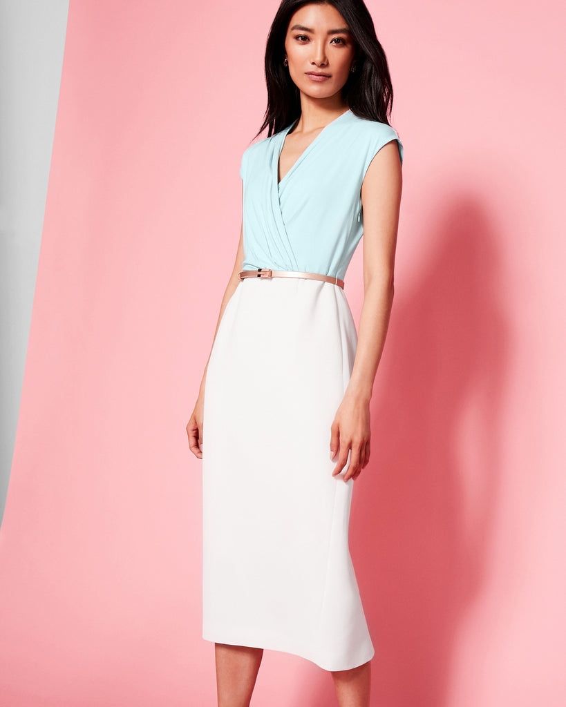 Ted Baker Wrap front midi dress Pale Blue