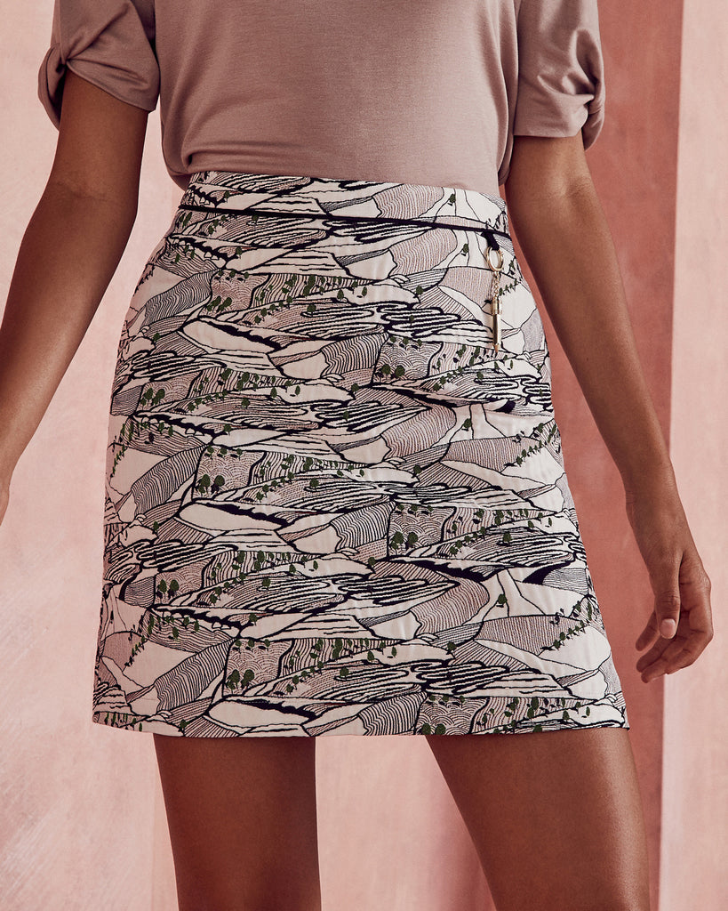 Ted Baker Landscape jacquard skirt Light Grey