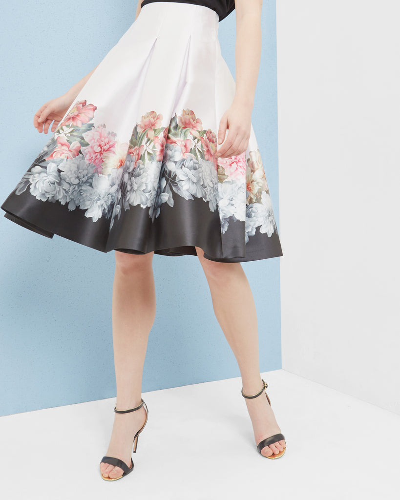 Ted Baker Painted Posie pleated skirt Baby Pink
