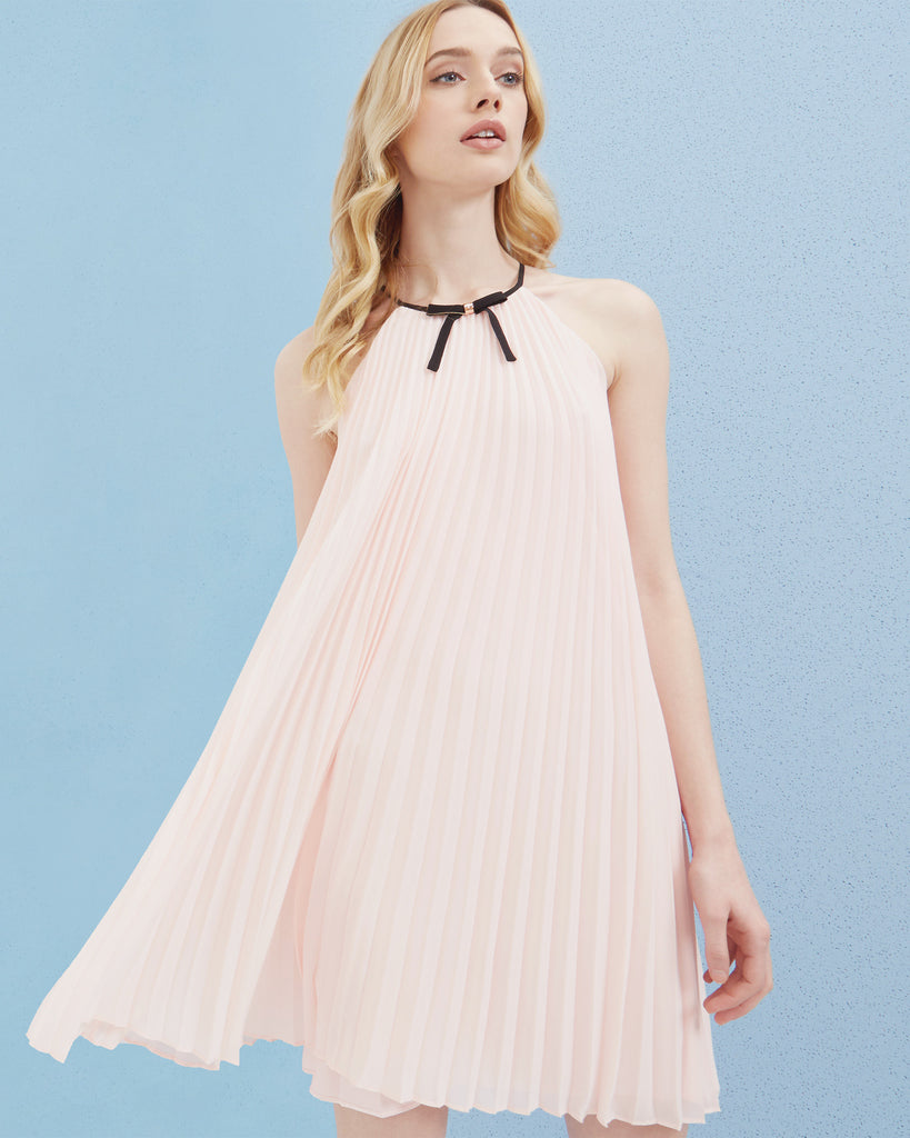 Ted Baker Bow detail pleated dress Baby Pink