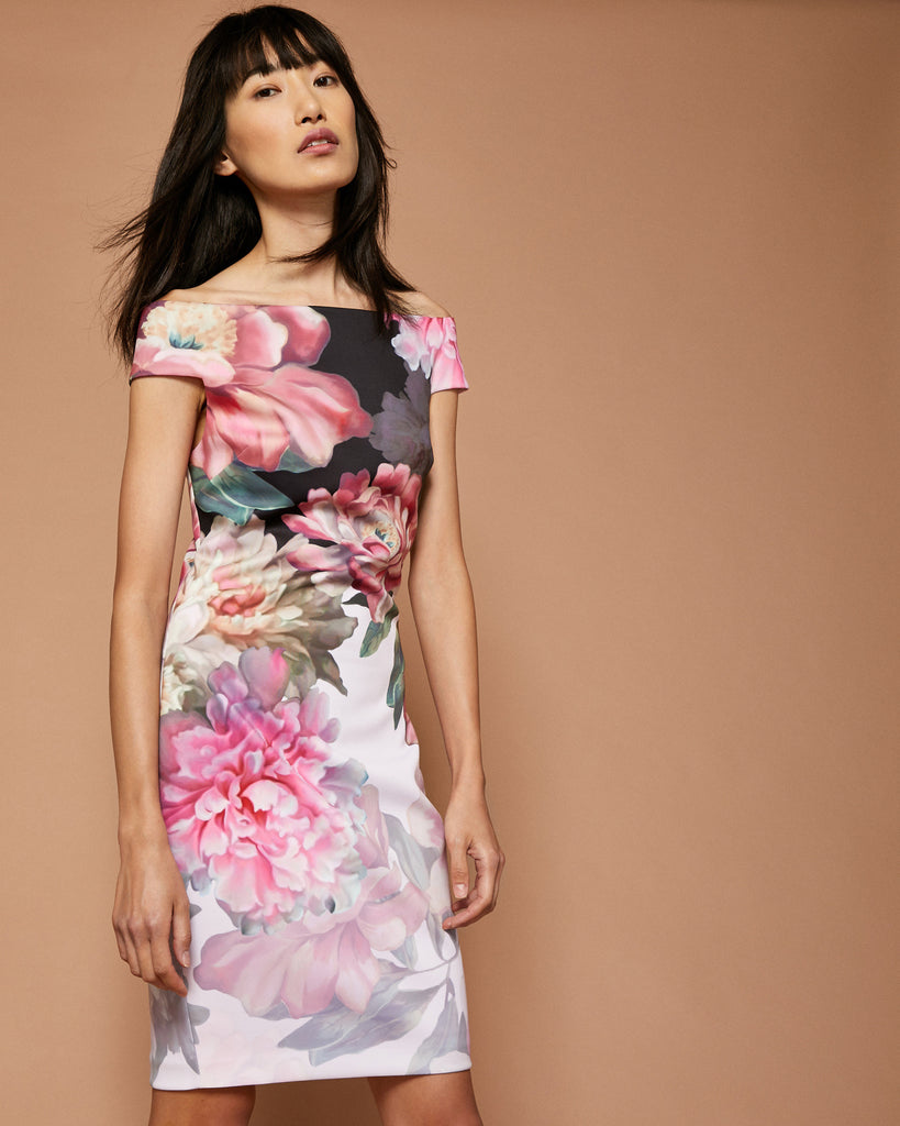 Ted Baker Painted Posie Bardot dress Baby Pink