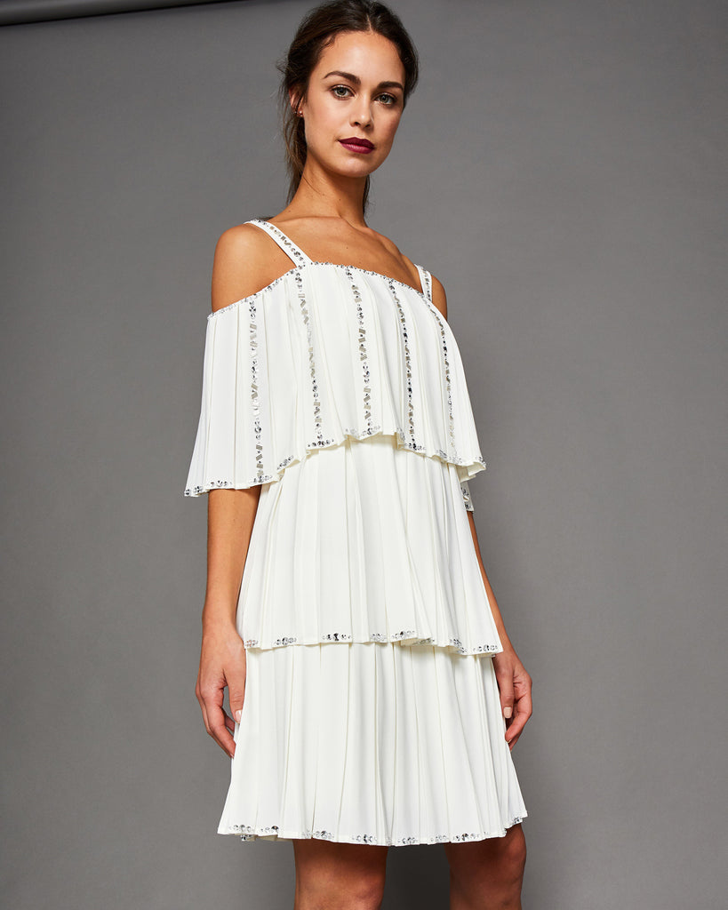 Ted Baker Embellished pleated tiered dress Ivory