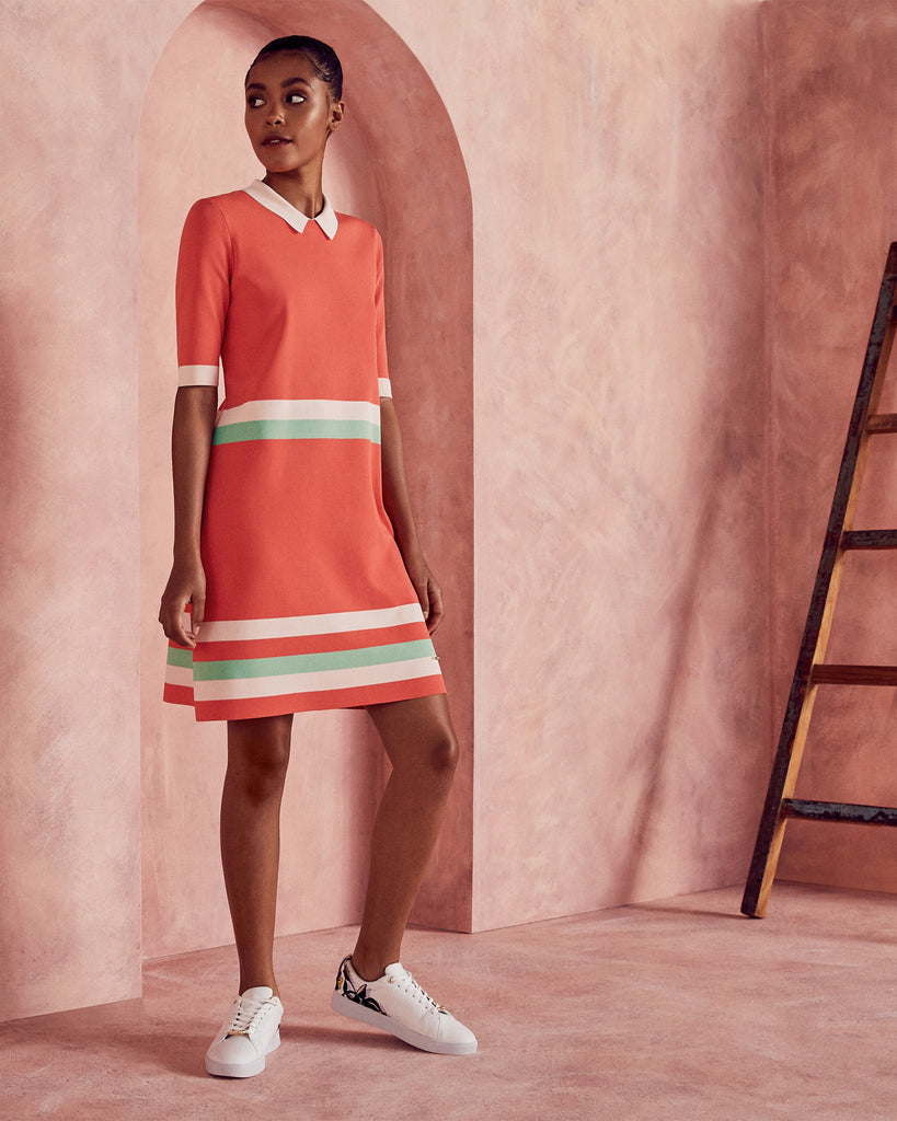 Ted Baker Colour-block knitted dress Coral
