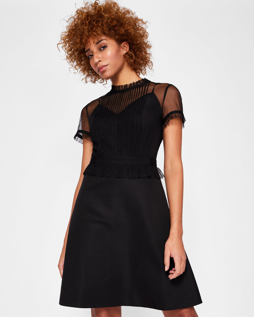 Ted Baker Victorian ruffle bodice dress Black