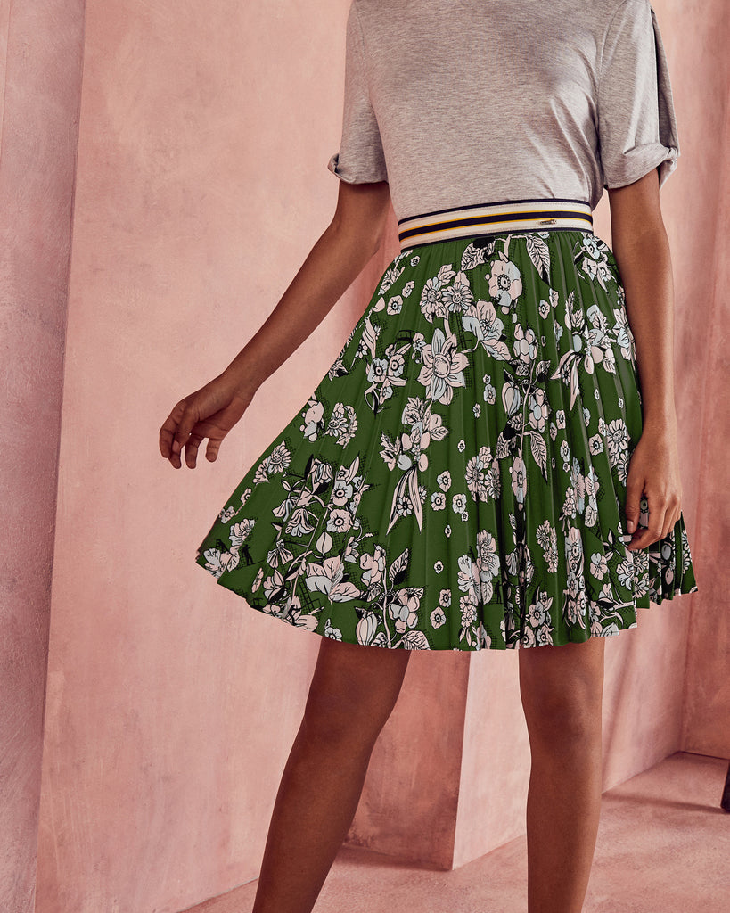 Ted Baker Floral print pleated skirt Green
