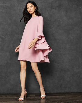 A-line Waterfall Sleeve Dress