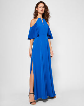 Cold Shoulder Chain Detail Maxi Dress