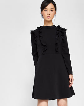 Long Sleeve Frill Tunic Dress