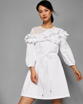 Ruffle Long Sleeve Cotton Dress