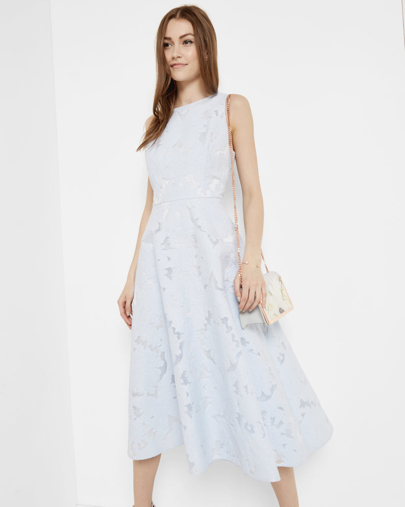 Ted Baker Burnout jacquard midi dress Powder Blue