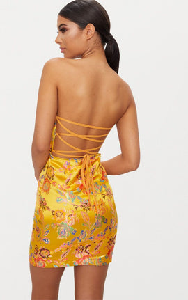 Mustard Oriental Satin Bandeau Lace Up Back Bodycon Dress- Yellow