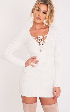 Zosia Cream Lace Up Knitted Jumper Dress- White