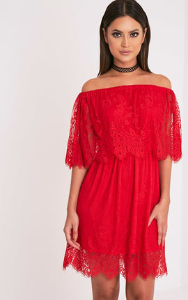 Zoe Red Eyelash Lace Bardot Dress- Red