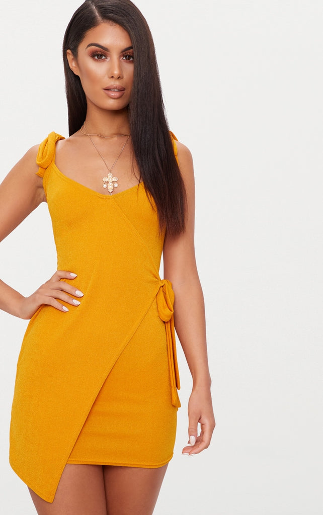 160d959117a2 Mustard Tie Detail Strappy Wrap Bodycon Dress- Yellow – Dresses247