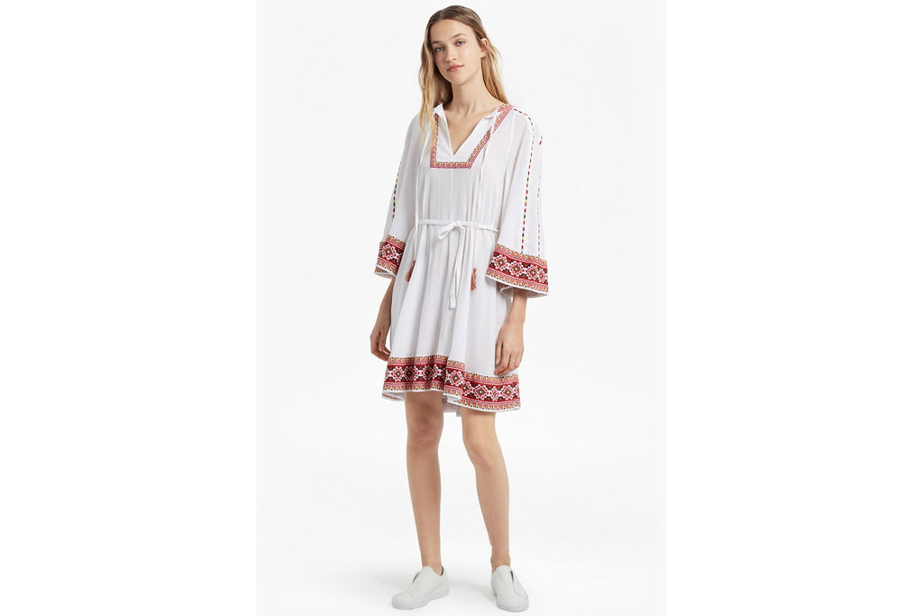 Adanna Crinkle Embroidered Smock Dress  - summer white multi