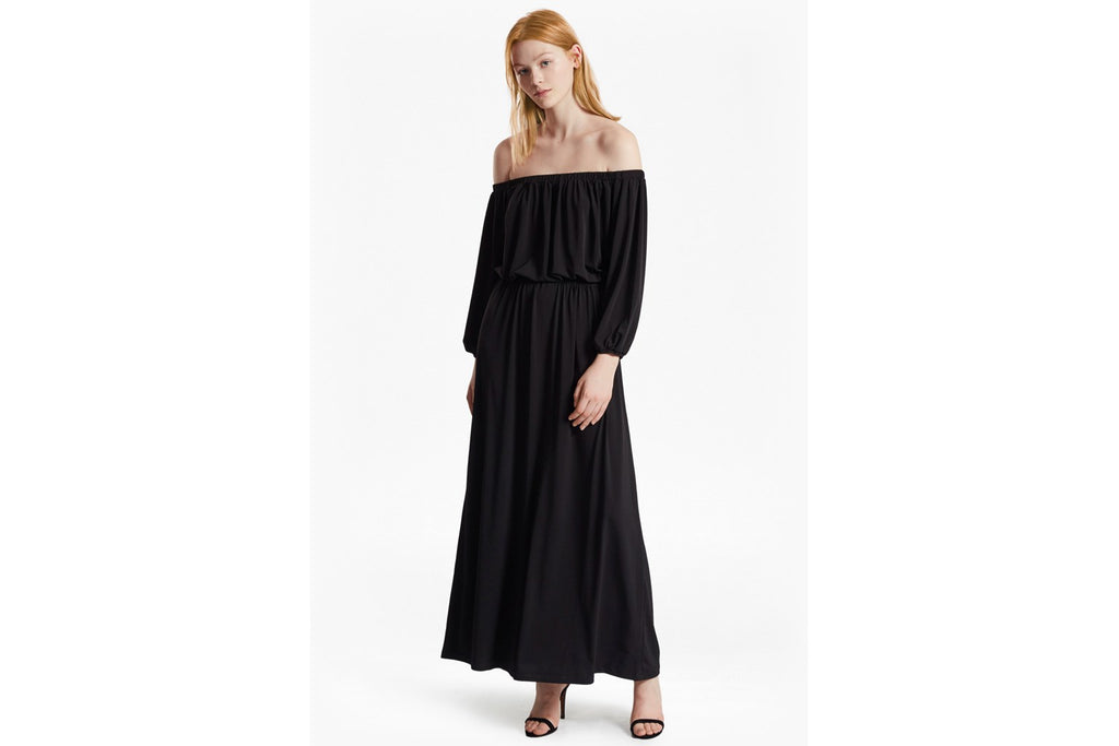 Adele Drape Bardot Jersey Maxi Dress - black
