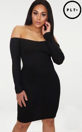 Plus Black Second Skin Bardot Ribbed Long Sleeve Midi Dress- Black