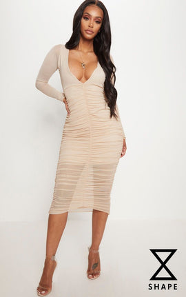 Shape Nude Ruched Mesh Longline Midi Dress- Pink